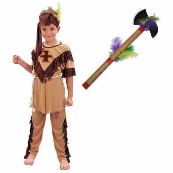 Foute indianen party kleding maat m met tomahawk voor kinderen