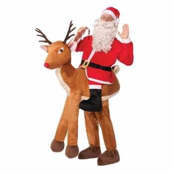 Foute instapparty kleding kerstman op rendier voor volwassenen
