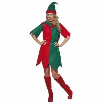 Foute kerst elf party kleding rood/groen voor dames