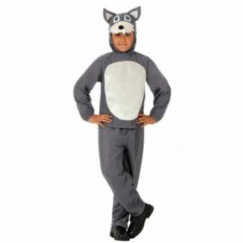 Foute kinder party kleding grijs wolfje