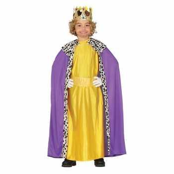 Foute koning mantel paars met geel party kleding voor kinderen