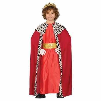 Foute koning mantel rood party kleding voor kinderen