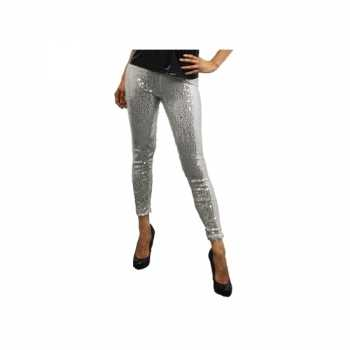 Foute legging met zilveren pailletten party