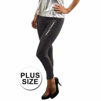 Foute legging met zwarte pailletten plus size party