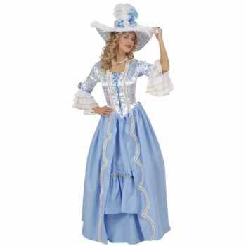 Foute luxe hofdame party kleding blauw