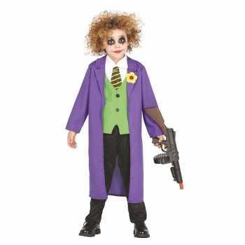 Foute luxe paarse horror clown joker party kleding voor kinderen