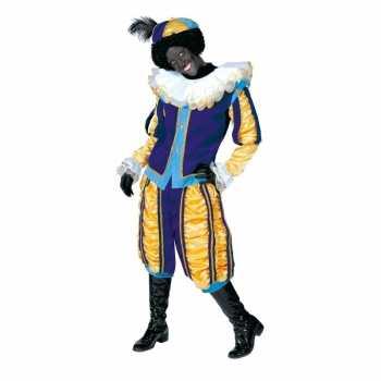 Foute luxe roetveeg pieten party kleding geel/blauw voor dames en her