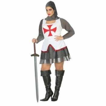 Foute middeleeuwse ridder party kleding/jurk wit/rood voor dames