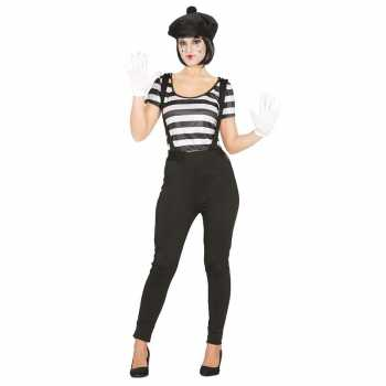 Foute mime speler/clown party kleding voor dames