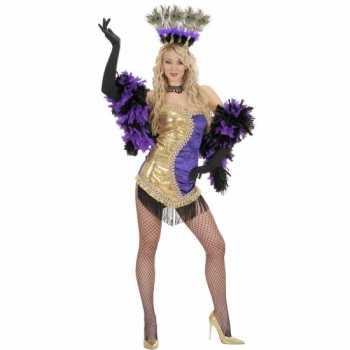 Foute moulin rouge party kleding goud paars