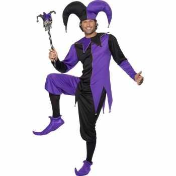 Foute narrenparty kleding zwart/paars voor heren