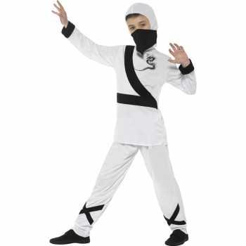 Foute ninja party kleding wit/zwart voor kinderen
