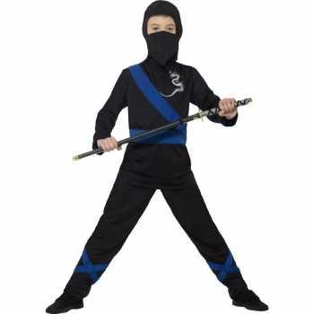 Foute ninja party kleding zwart blauw voor kinderen
