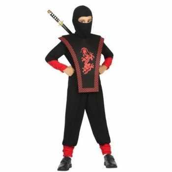 Foute ninja party kleding zwart/rood voor jongens