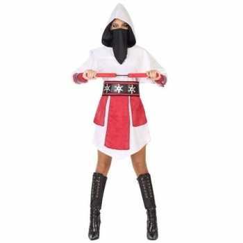Foute ninja vechter jurk/party kleding wit/rood voor dames