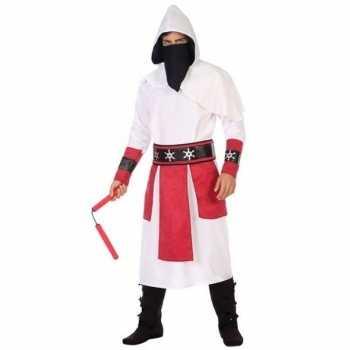 Foute ninja vechter party kleding wit/rood voor heren