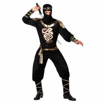 Foute ninja vechter party kleding zwart/goud voor heren