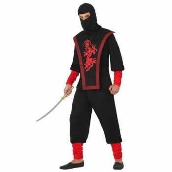 Foute ninja vechter party kleding zwart/rood voor heren