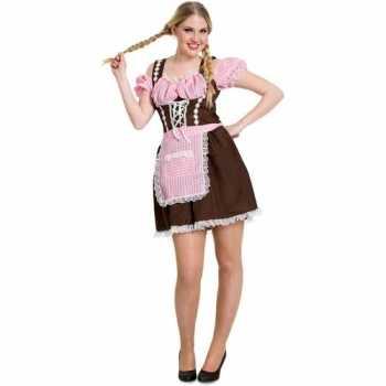 Foute oktoberfest bruine/roze tiroler dirndl party kleding/jurkje voo