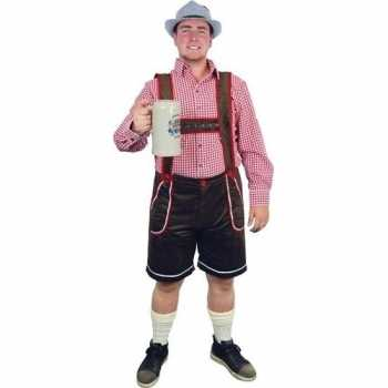 Foute oktoberfest bruine tiroler lederhosen party kleding/broek voor