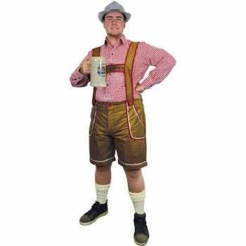 Foute oktoberfest lichtbruine tiroler lederhosen party kleding/broek