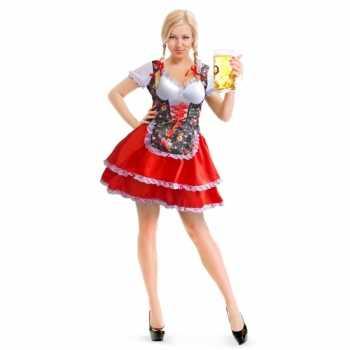 Foute oktoberfest rode/bloemen tiroler dirndl party kleding/jurkje vo