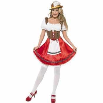 Foute oktoberfest rode/bruine tiroler dirndl party kleding/jurkje voo