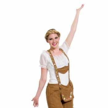 Foute oktoberfest witte tiroler blouse party kleding top voor dames