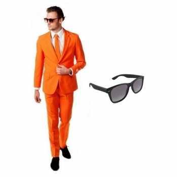 Foute oranje heren party kleding maat 48 (m) met gratis zonnebril