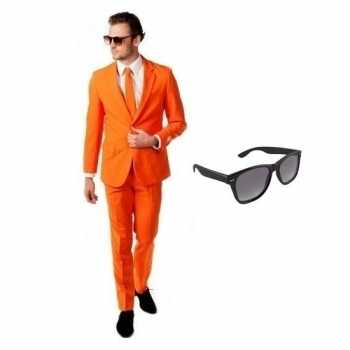 Foute oranje heren party kleding maat 54 (2xl) met gratis zonnebril