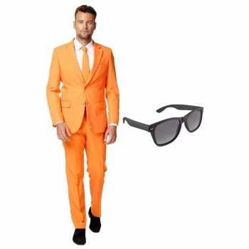 Foute oranje heren party kleding maat 54 (xxl) met gratis zonnebril