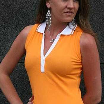 Foute oranje mouwloos dames polo shirt party