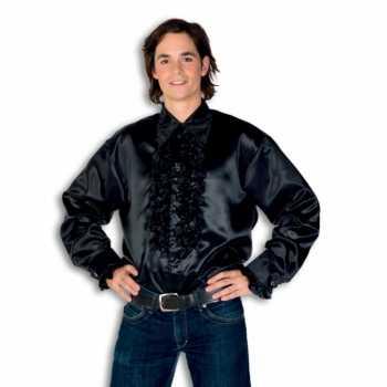 Foute overhemd zwart met rouches heren party