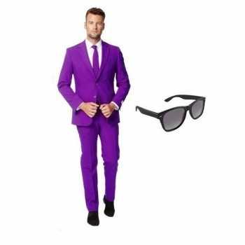 Foute paars heren party kleding maat 48 (m) met gratis zonnebril