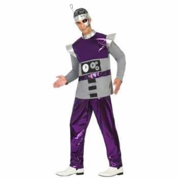 Foute paars robot party kleding voor heren