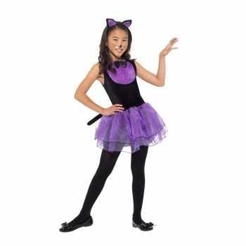 Foute paars/zwarte kat/poes party kleding voor meiden