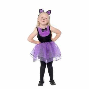 Foute paars/zwarte kat/poes party kleding voor peuters