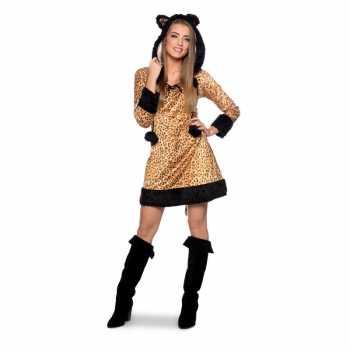 Foute panter dierenparty kleding jurkje voor dames