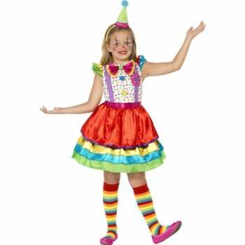 Foute party kleding gekleurd clown jurkje