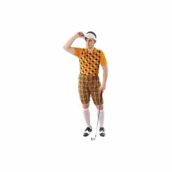 Foute party kleding golfer oranje voor heren