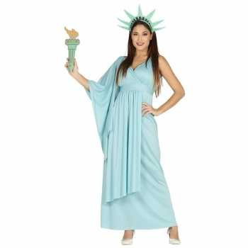 Foute party kleding jurk vrijheidsbeeld blauw