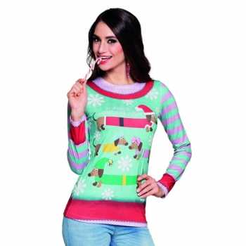 Foute party kleding kerstprint dames shirt