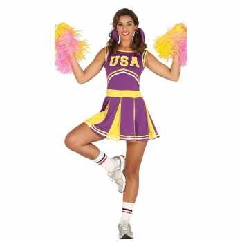 Foute party kleding paarse cheerleader voor dames