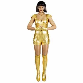 Foute party kleding spacegirl goud voor dames
