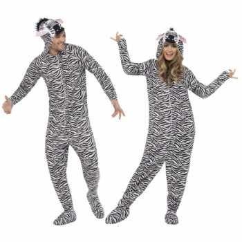 Foute party kleding zebra all in one voor volwassenen party