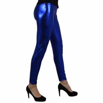 Foute party legging metallic blauw party