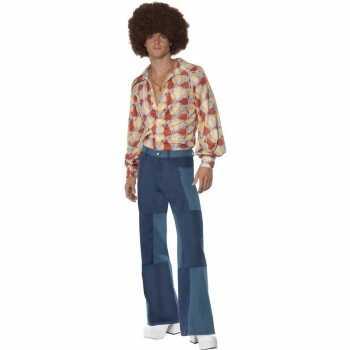 Foute patchwork jaren 70 party kleding voor heren