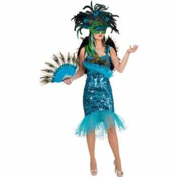 Foute pauwenveren glitterjurk party kleding