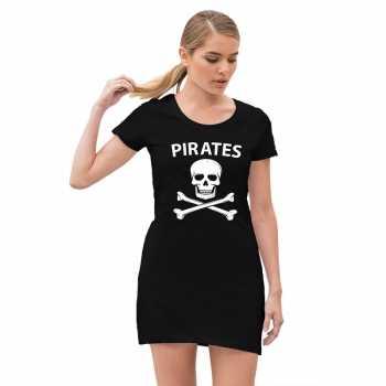 Foute piraten jurkje met doodshoofd zwart voor dames party