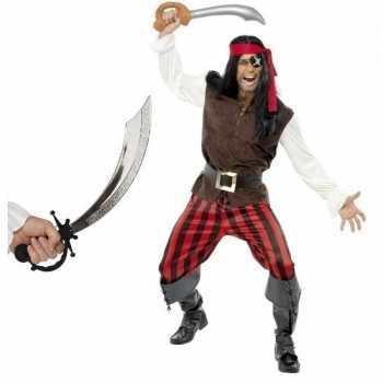 Foute piraten party kleding met zwaard maat l voor volwassenen